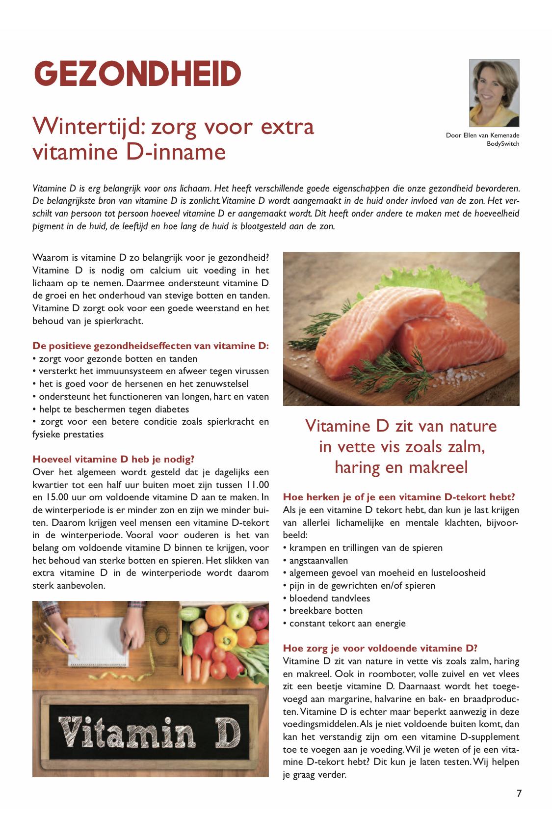 Wintertijd Zorg Voor Extra Vitamine D Inname Bodyswitch